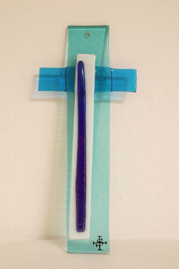 Glasmalerei Fusingkreuz Blau