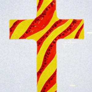 Glasmalerei Fusingkreuz Gelb/Rot