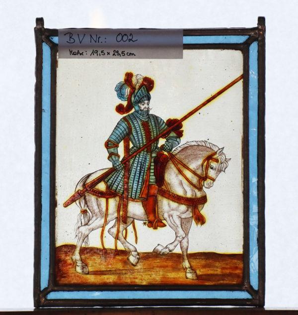Glasmalerei Bleiverglasung Reiter