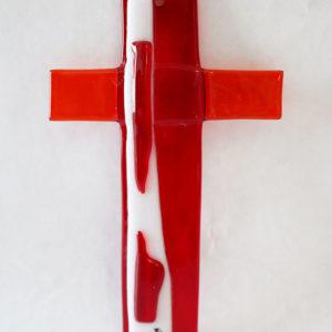 Glasmalerei Fusingkreuz Rot/Orange