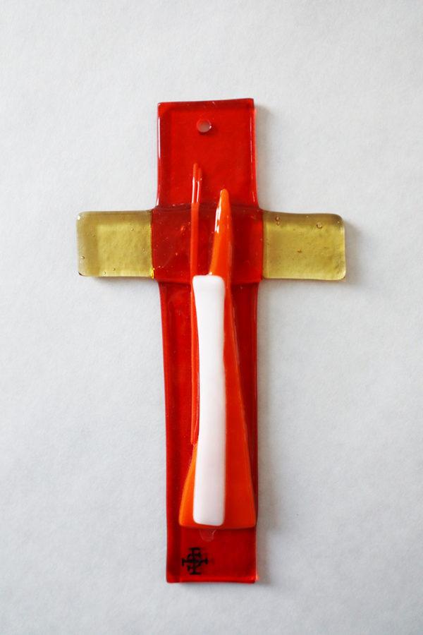 Glasmalerei Fusingkreuz Orange/Gelb