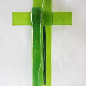 "Glasmalerei-Fusing Cross ""Green/Black"""