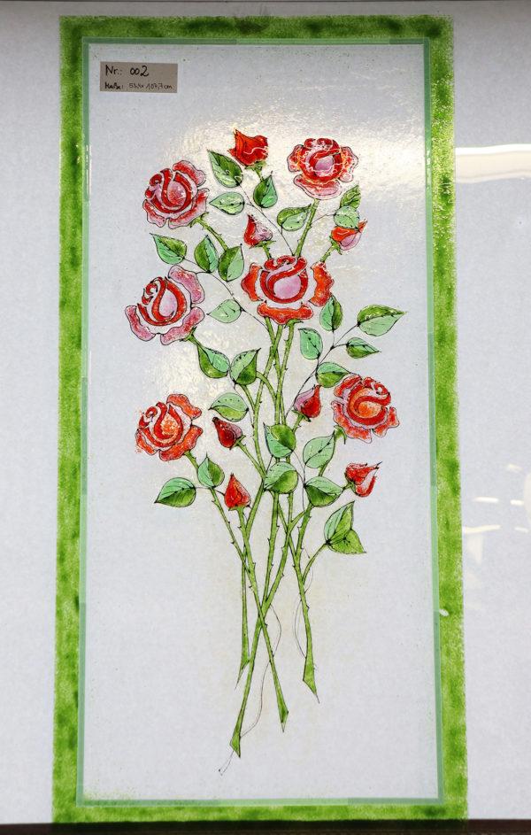 "Glasmalerei - Furniture Glazing - Fused glass ""Roses"""