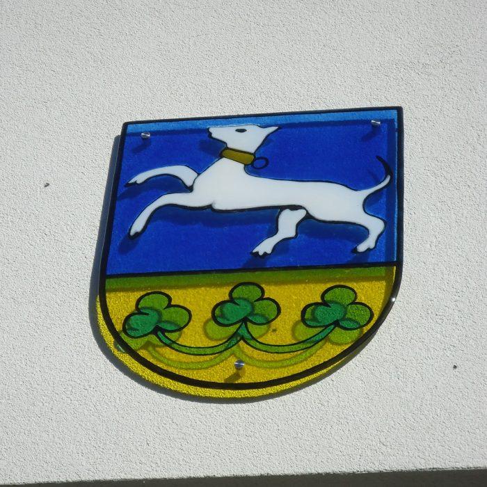 Gemeindeamt Inzersdorf Glasbeschriftung und Wappen