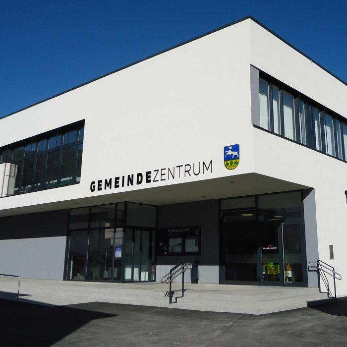 Gemeindeamt Inzersdorf Glasbeschriftung und Wappen 1